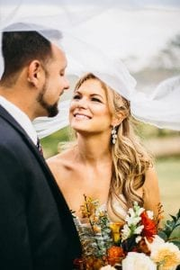 Bride and Groom after wedding with boquet